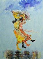 Obraz do salonu artysty Dariusz Grajek pod tytułem Kolorowe sukienki na wietrze....