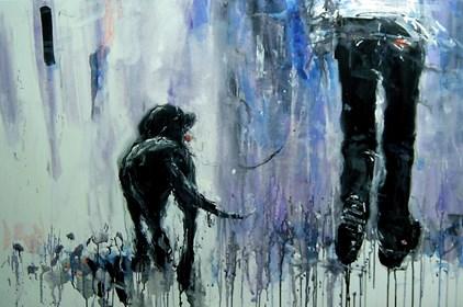 Obraz do salonu artysty Dariusz Grajek pod tytułem Pan i labrador.....