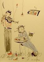 Grafika do salonu artysty Dariusz Grajek pod tytułem Muzykant i kawiarenka.....
