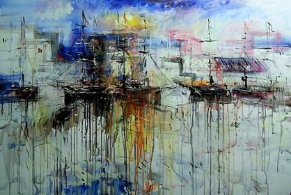 Obraz do salonu artysty Dariusz Grajek pod tytułem Port na Costa Brava....
