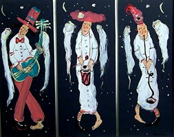 Obraz do salonu artysty Dariusz Grajek pod tytułem Niebiański band.... Tryptyk!!!!