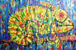 Obraz do salonu artysty Dariusz Grajek pod tytułem Kameleon....