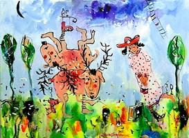 Obraz do salonu artysty Dariusz Grajek pod tytułem Dziewczyna i jelonki......