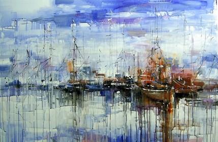 Obraz do salonu artysty Dariusz Grajek pod tytułem Port w chmurach...