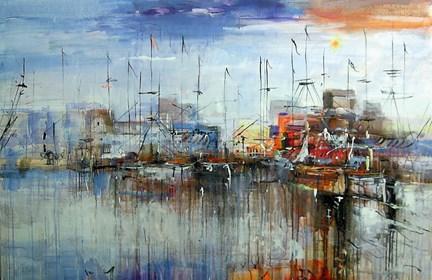 Obraz do salonu artysty Dariusz Grajek pod tytułem Rybacki port....