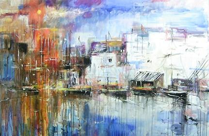 Obraz do salonu artysty Dariusz Grajek pod tytułem Słońce nad łodziami....