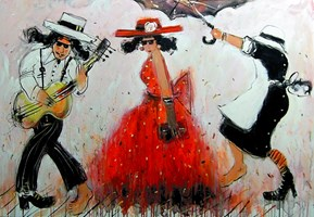 Obraz do salonu artysty Dariusz Grajek pod tytułem Czerwony kapelusz i.....