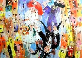Obraz do salonu artysty Dariusz Grajek pod tytułem Love story nad domami....