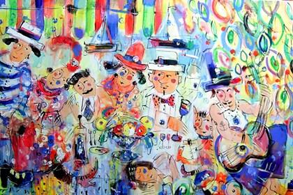 Obraz do salonu artysty Dariusz Grajek pod tytułem Wesoła kompania...