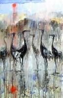 Obraz do salonu artysty Dariusz Grajek pod tytułem Słońce i ptaki....