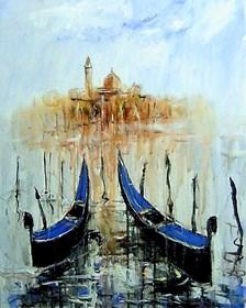 Obraz do salonu artysty Dariusz Grajek pod tytułem Dwie gondole..