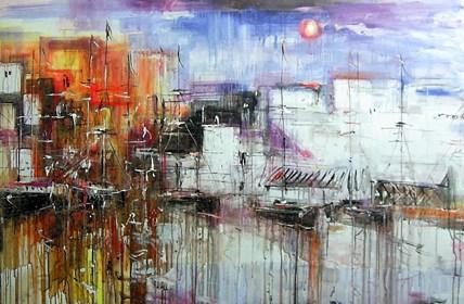 Obraz do salonu artysty Dariusz Grajek pod tytułem Port i słońce....