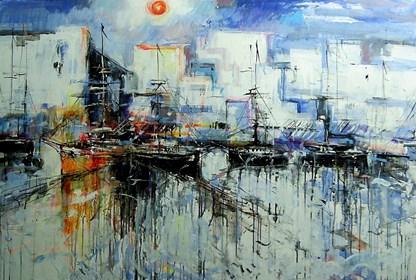 Obraz do salonu artysty Dariusz Grajek pod tytułem Łodzie,port,woda.....