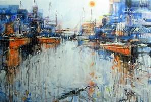 Obraz do salonu artysty Dariusz Grajek pod tytułem Pomarańczowe żaglowce....