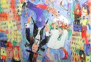 Obraz do salonu artysty Dariusz Grajek pod tytułem Zakochani...