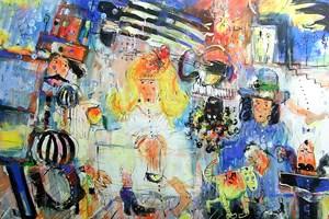 Obraz do salonu artysty Dariusz Grajek pod tytułem Muzykanci i Infantka...