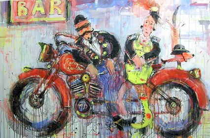 Obraz do salonu artysty Dariusz Grajek pod tytułem Motocyklowa miłość....