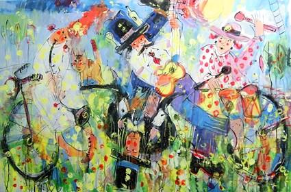 Obraz do salonu artysty Dariusz Grajek pod tytułem Band i rower....