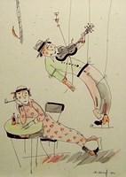 Grafika do salonu artysty Dariusz Grajek pod tytułem Muzykant i dziewczyna...