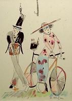 Grafika do salonu artysty Dariusz Grajek pod tytułem Ona,on i rower...