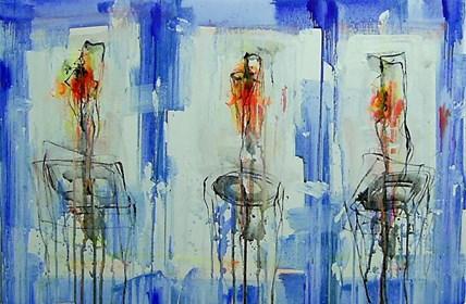 Obraz do salonu artysty Dariusz Grajek pod tytułem Tulipany w wazonach...