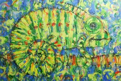 Obraz do salonu artysty Dariusz Grajek pod tytułem Kameleon w błękitach...