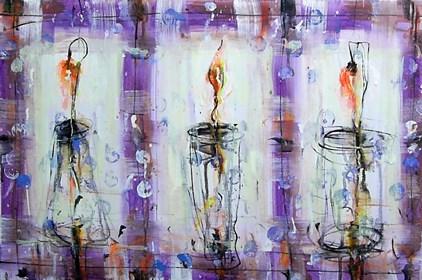 Obraz do salonu artysty Dariusz Grajek pod tytułem Namiętne kwiaty...