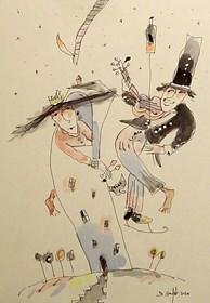 Grafika do salonu artysty Dariusz Grajek pod tytułem Królewna i skrzypek....