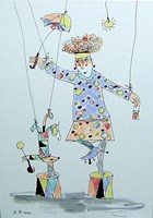 Obraz do salonu artysty Dariusz Grajek pod tytułem Akrobatka i pies....