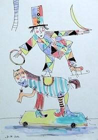 Grafika do salonu artysty Dariusz Grajek pod tytułem Koń i cyrkowiec....