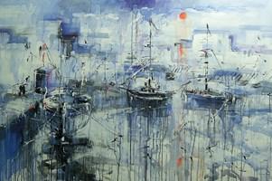 Obraz do salonu artysty Dariusz Grajek pod tytułem Słońce w błękicie....