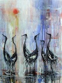 Obraz do salonu artysty Dariusz Grajek pod tytułem Ptaki w słońcu....