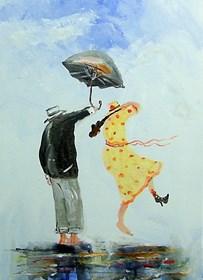 Obraz do salonu artysty Dariusz Grajek pod tytułem Parasol i sukienka