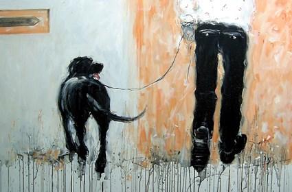 Obraz do salonu artysty Dariusz Grajek pod tytułem On i labrador...