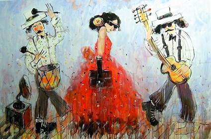 Obraz do salonu artysty Dariusz Grajek pod tytułem Muzyka i dama....