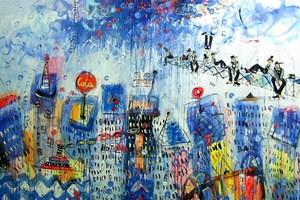 Obraz do salonu artysty Dariusz Grajek pod tytułem Budowniczowie Manhattanu....