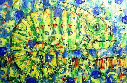 Obraz do salonu artysty Dariusz Grajek pod tytułem Kameleon w błękicie...
