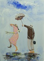 Living room painting by Dariusz Grajek titled Always together