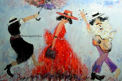 Obraz do salonu artysty Dariusz Grajek pod tytułem Dama w kapeluszu i.....