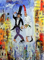 Obraz do salonu artysty Dariusz Grajek pod tytułem Miłość nad miastem....
