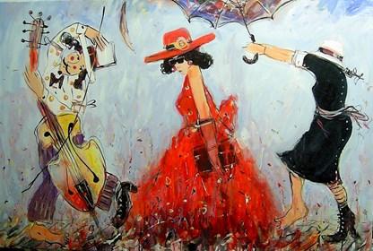 Obraz do salonu artysty Dariusz Grajek pod tytułem Panna i służba....