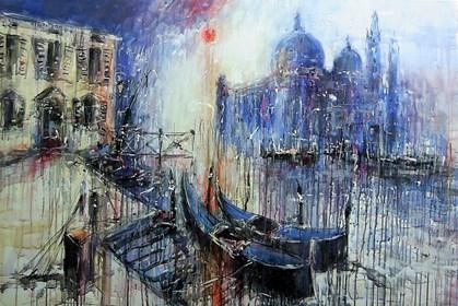 Obraz do salonu artysty Dariusz Grajek pod tytułem Wenecka uliczka i gondole...