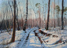 Living room painting by Wojciech Piekarski titled Winter landscape
