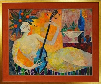 Living room painting by Jan Bonawentura Ostrowski titled Woman With Mandolin