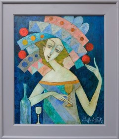 Living room painting by Jan Bonawentura Ostrowski titled The girl with a glass