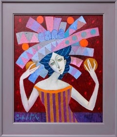 Living room painting by Jan Bonawentura Ostrowski titled The girl in the hat