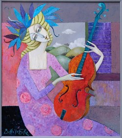 Living room painting by Jan Bonawentura Ostrowski titled The girl with the violin