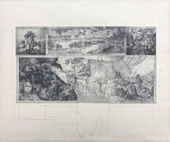 Grafika do salonu artysty Krzysztof Wieczorek pod tytułem Pejzaż horyzontalny z wielkim zaginionym okrętem I