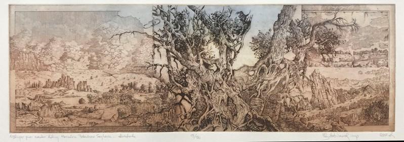 Grafika do salonu artysty Krzysztof Wieczorek pod tytułem Grafiki Horyzontalne: Wędrując przez szerokie doliny