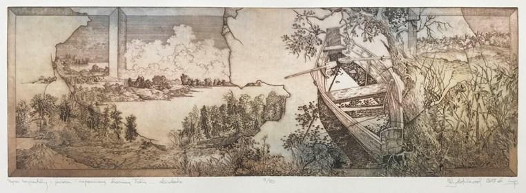 Grafika do salonu artysty Krzysztof Wieczorek pod tytułem Grafiki Horyzontalne:  Pejzaż horyzontalny z jeziorem i zapomnianą drewnianą łodzią